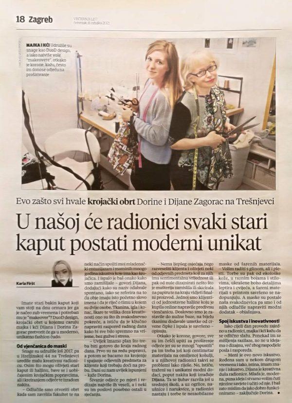 Večernji list o krojačkom salonu DuoD Design