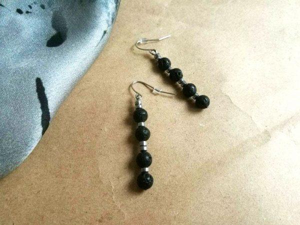 Crne ili sive naušnice Lava Drops od lava kamena i hematita s udicama od kirurškog čelika