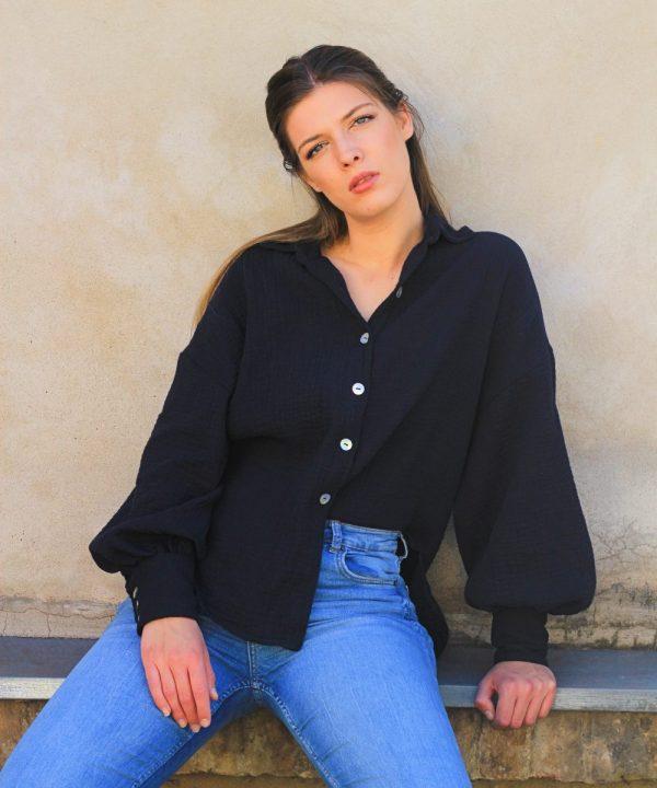 Oversize bluza od 100% prirodnog pamuka tamno plave boje